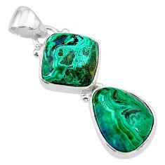 9.86cts natural green azurite malachite 925 sterling silver pendant t21455