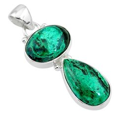 9.98cts natural green azurite malachite 925 sterling silver pendant t21458
