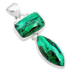 10.31cts natural green azurite malachite 925 sterling silver pendant t21460