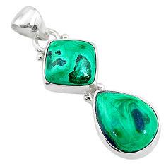9.59cts natural green azurite malachite 925 sterling silver pendant t21462