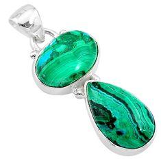 10.39cts natural green azurite malachite 925 sterling silver pendant t21470