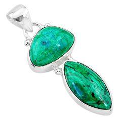 10.02cts natural green azurite malachite 925 sterling silver pendant t21479