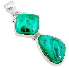 12.52cts natural green azurite malachite 925 sterling silver pendant t21485
