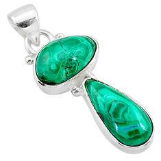 9.86cts natural green azurite malachite 925 sterling silver pendant t21486