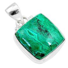 12.06cts natural green azurite malachite 925 sterling silver pendant t21489