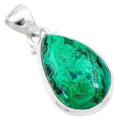 12.07cts natural green azurite malachite 925 sterling silver pendant t21501
