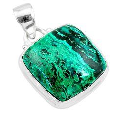 12.50cts natural green azurite malachite 925 sterling silver pendant t21505