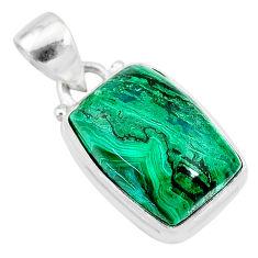 9.88cts natural green azurite malachite 925 sterling silver pendant t21506