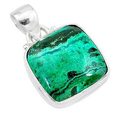 9.98cts natural green azurite malachite 925 sterling silver pendant t21511