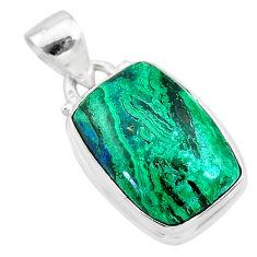 9.49cts natural green azurite malachite 925 sterling silver pendant t21515