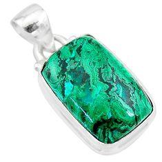 10.02cts natural green azurite malachite 925 sterling silver pendant t21520