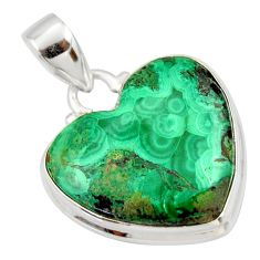 19.23cts natural green azurite malachite heart sterling silver pendant r33876
