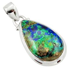 15.65cts natural green azurite malachite pear 925 sterling silver pendant r33865