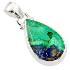 12.58cts natural green azurite malachite pear 925 sterling silver pendant r36255