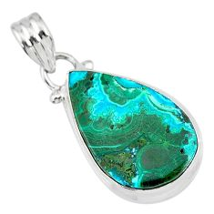 11.17cts natural green azurite malachite pear 925 sterling silver pendant r83333