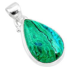 9.61cts natural green azurite malachite pear 925 sterling silver pendant t21519