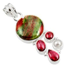 14.90cts natural green bloodstone african (heliotrope) 925 silver pendant d39121