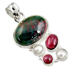 Clearance Sale- 15.97cts natural green bloodstone african (heliotrope) 925 silver pendant d44142