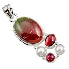 19.72cts natural green bloodstone african (heliotrope) 925 silver pendant d44143