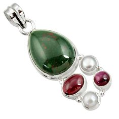 Clearance Sale- 16.79cts natural green bloodstone african (heliotrope) 925 silver pendant d44146