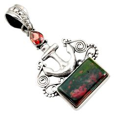 Clearance Sale- 10.02cts natural green bloodstone african (heliotrope) 925 silver pendant d44148