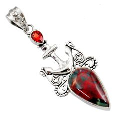 Clearance Sale- 14.72cts natural green bloodstone african (heliotrope) 925 silver pendant d45164