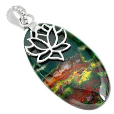 33.18cts natural green bloodstone african (heliotrope) 925 silver pendant r90910