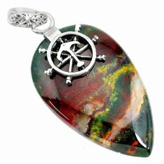 25.79cts natural green bloodstone african (heliotrope) 925 silver pendant r90917