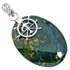 28.13cts natural green bloodstone african (heliotrope) 925 silver pendant r90983
