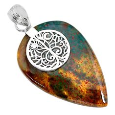 27.81cts natural green bloodstone african (heliotrope) 925 silver pendant r91000