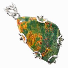 22.25cts natural green bloodstone african (heliotrope) 925 silver pendant t31887