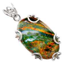 25.72cts natural green bloodstone african (heliotrope) 925 silver pendant t31893