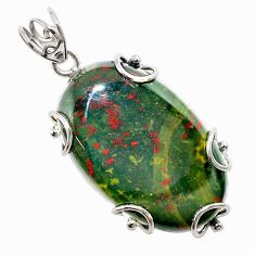 33.90cts natural green bloodstone african (heliotrope) 925 silver pendant t31894
