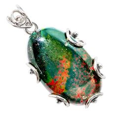 29.81cts natural green bloodstone african (heliotrope) 925 silver pendant t31896