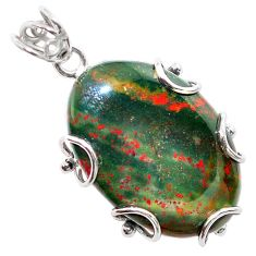 27.46cts natural green bloodstone african (heliotrope) 925 silver pendant t31897