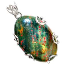 31.96cts natural green bloodstone african (heliotrope) 925 silver pendant t31899
