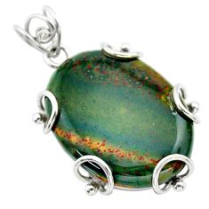 25.78cts natural green bloodstone african (heliotrope) 925 silver pendant t31901