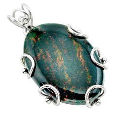 29.09cts natural green bloodstone african (heliotrope) 925 silver pendant t31902
