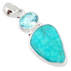 12.58cts natural green campitos turquoise blue topaz 925 silver pendant r20907