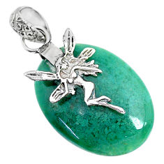 15.17cts natural green chalcedony 925 silver angel wings fairy pendant r91327