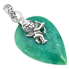 15.72cts natural green chalcedony 925 silver baby wing fairy pendant r91333