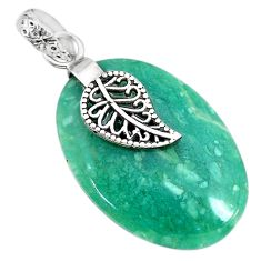 20.19cts natural green chalcedony 925 silver deltoid leaf pendant r91322