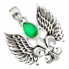 2.46cts natural green chalcedony 925 silver feather charm pendant d44843