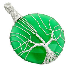 32.57cts natural green chalcedony 925 silver tree of life pendant d47607