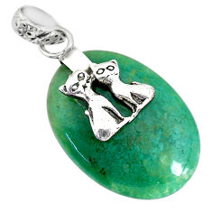 16.88cts natural green chalcedony 925 silver two cats pendant jewelry r91326