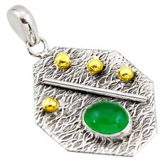3.13cts natural green chalcedony 925 sterling silver 14k gold pendant r37166