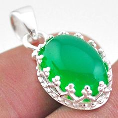 6.61cts natural green chalcedony 925 sterling silver crown pendant t43335