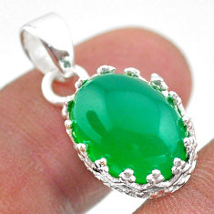 6.83cts natural green chalcedony 925 sterling silver crown pendant t43352