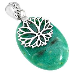 23.78cts natural green chalcedony 925 sterling silver flower pendant r91328