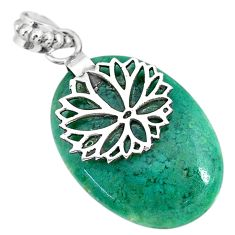 19.58cts natural green chalcedony 925 sterling silver flower pendant r91329